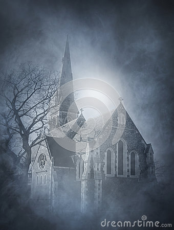 Free Halloween Background With A Spooky Castle On The Mountain Stock Image - 45430991