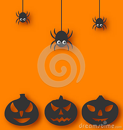 Free Halloween Background With Hanging Spiders And Pump Stock Image - 41818981