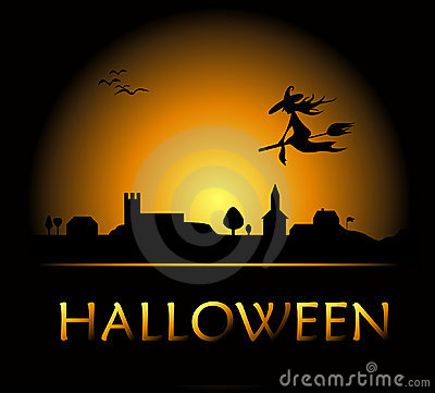 Free Halloween Background With Witch And Night City Stock Photos - 6578913