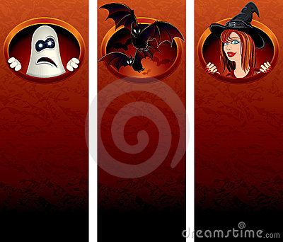 Halloween Banner with Cartoon characters