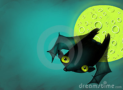 Halloween bat in moon night