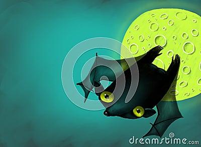 Halloween bat in moon night