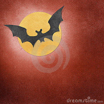 Halloween bat and moon recycled papercraft