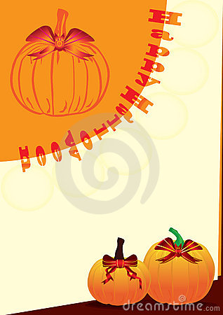 Halloween Bat Ribbon On Pumpkin_eps
