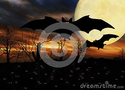 Halloween Bats Full Moon Stock Image Image 34258151
