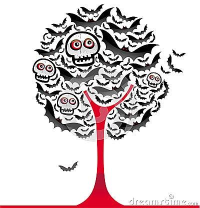 Halloween bats tree 2