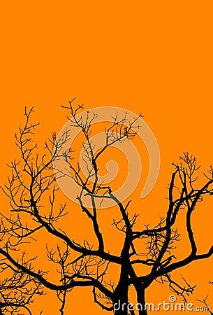 Halloween-Baum auf Orange