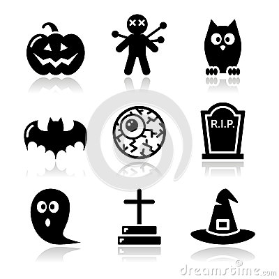 Halloween black icons set - pumpkin, witch, ghost