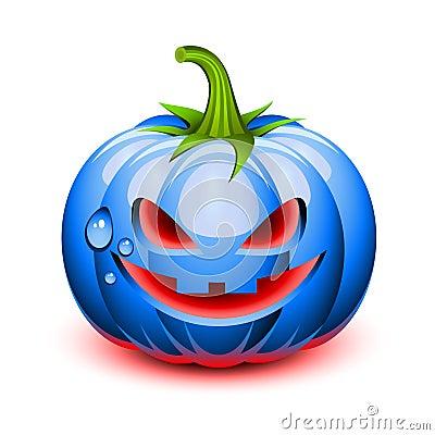 Halloween blue pumpkin face