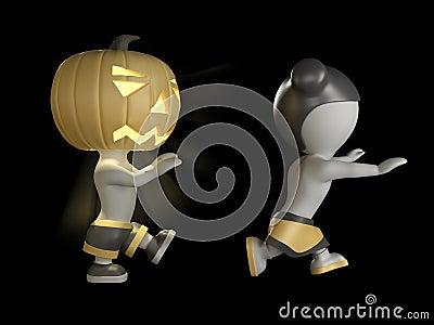 Halloween boy and girl. 3D illustration.