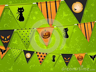Halloween bunting on green background
