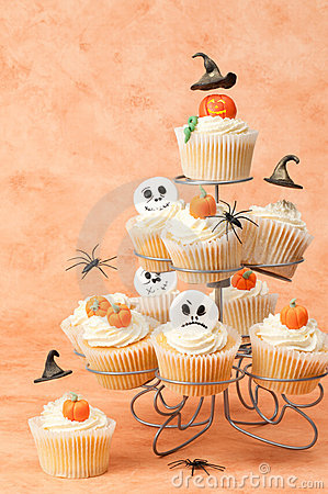 Halloween Cakes With Floating Witches Hats
