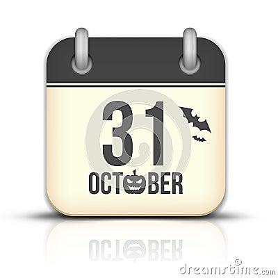 Halloween Calendar Icon With Reflection. 31 Octobe Stock Photos ...