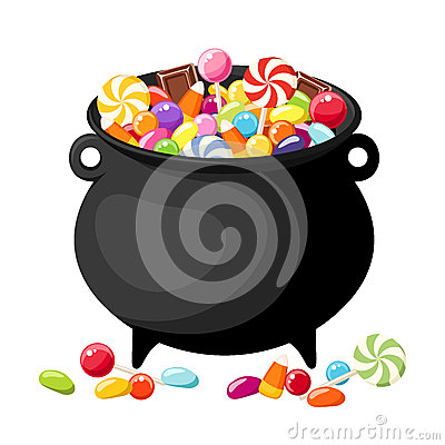 Free Halloween Candies In Witches Cauldron. Stock Photo - 34517800