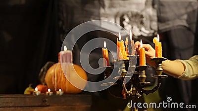 Halloween Candlestick. Set Afire stock video