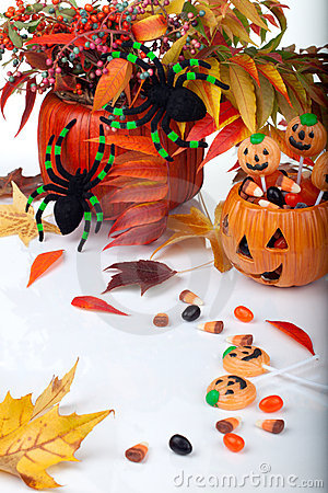 Halloween candy and pumpkins
