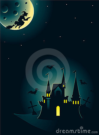 Halloween card with castle and witch