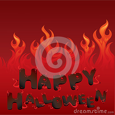 Halloween card with Flaming texture