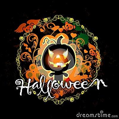 Halloween card with pumpkin monster