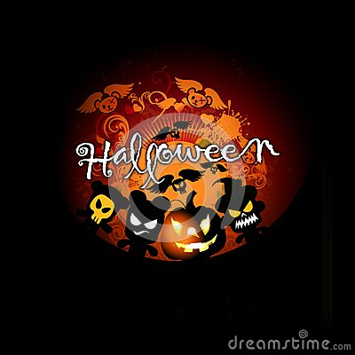 Halloween card with pumpkin and monsters