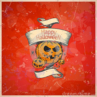 Halloween card with a pumpkins.