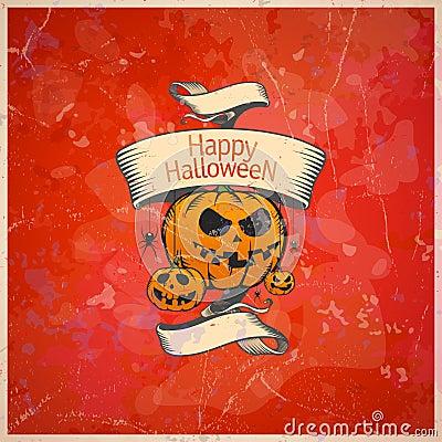 Halloween card with a pumpkins.