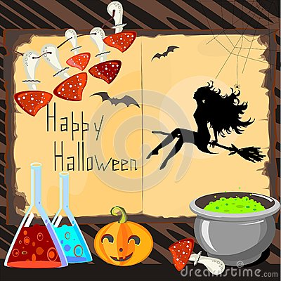 Halloween Card with silhouette of beautiful witch