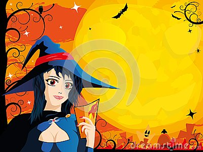Halloween card with young witch
