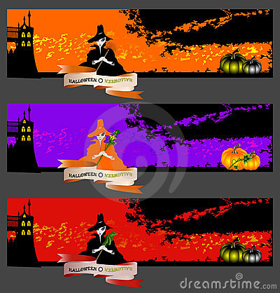 Halloween cards, banners or backgrounds set