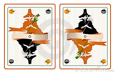 Halloween cards with pretty witches
