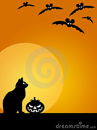 Halloween Carved Pumpkin Cat Moon and Bats