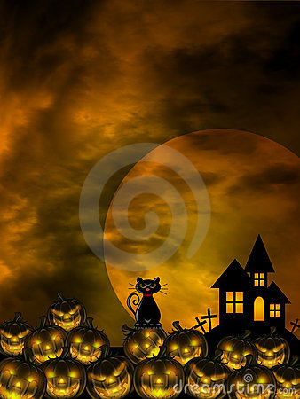 Halloween Carved Pumpkin Patch Cat Moon Cemetery
