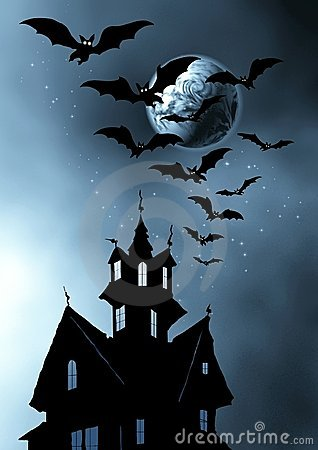 Halloween. Castle and bats.