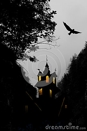 Halloween, castle and bird