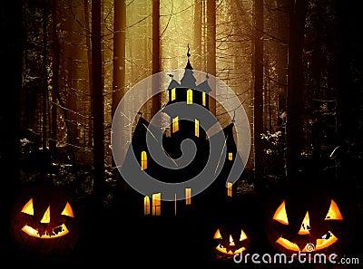 Halloween. Castle and  pumpkins.