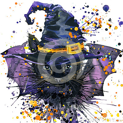 Free Halloween Cat And Witch Hat. Watercolor Illustration Background Stock Image - 59081721