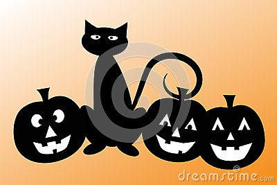 Halloween Cat with Pumpkins