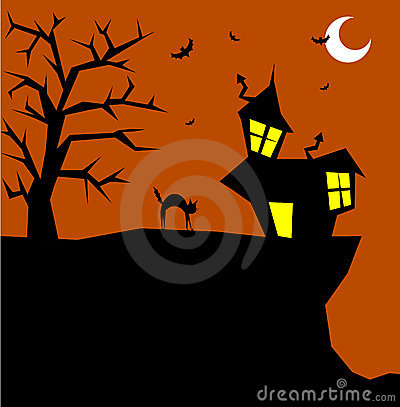 Halloween cat on a scary background