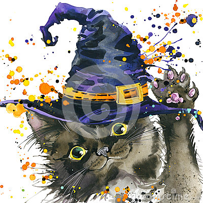 Halloween cat and witch hat. Watercolor illustration background Cartoon Illustration