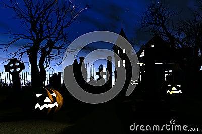 Halloween Cemetery Scary Scene 3D render