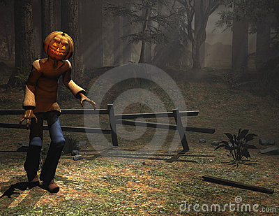 Halloween character pumpkin man sneaking
