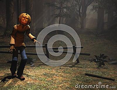 Halloween character pumpkin man sneaking