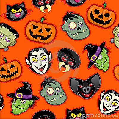 Halloween Characters Seamless Pattern