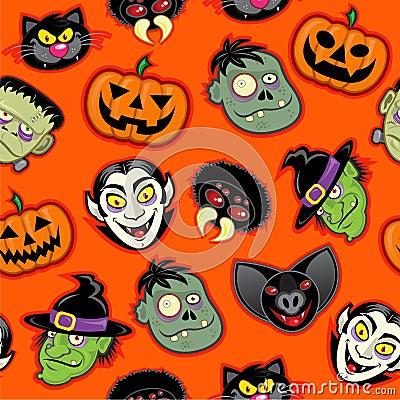 Halloween Characters Seamless Pattern
