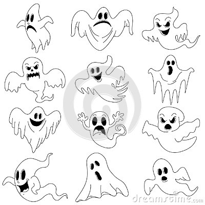 Free Halloween Characters Set Of Scary Ghosts For Design  Royalty Free Stock Photography - 101242497