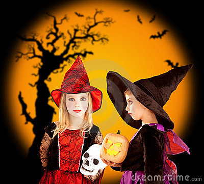 Halloween children girls with tree and bats