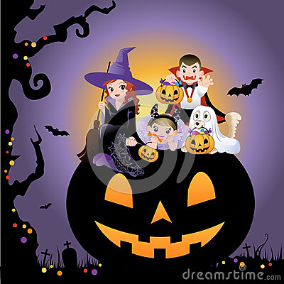 Halloween children wearing costume on pumpkin
