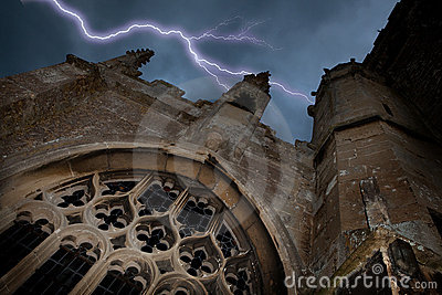 Halloween church with lightning