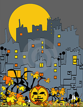 Halloween city with pumpkin