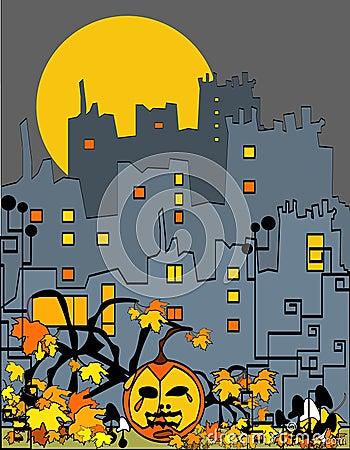 Halloween city with pumpkin